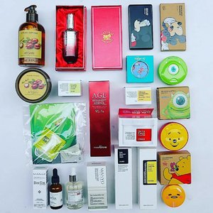 i think i have a #kbeauty #shoppingaddiction i just cant help it they are all so pretty oh please can anyone stop me. my koreadepart #haul has finally arrived.  #naturerepublic #argan essential deep care #shampoo  #swanicoco #ginseng #ampoule  #thefaceshop #mickey mono pop lip and eyes  nature republic argan hair pack  #cosrx centella blemish cream  #fromnature age treatment #essence  #isaknox #bambi glow cushion blusher  cosrx ultimate moisturizing honey overnight mask  cosrx one step pimple clear pad  the face shop mike cc long lasting cushion  #medipeel bor-tox peptide ampoule  #manyofactory #galactomyces niacin essence  cosrx bha power liquid  cosrx advanced snail mucin power essence  the face shop pooh cc cooling cushion  #holikaholika #gudetama jelly dough blusher  #clozette #youniqbeauty #skincare #makeup #abcommunity