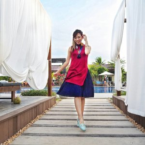 Relaxing by the beautiful swimming pool in my #Joopboutique CNY appropriate layer dress with in-trend pleated skirt. Light and breezy. Finally reached our first resort after more than 24 hours - hitting the beach tml!  #cambodia #otres #sihanoukville #joopsg