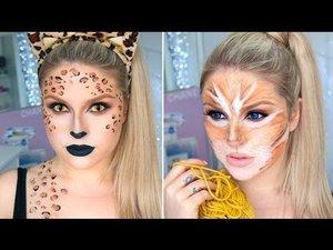 Sexy Leopard & Cute Tabby Cat! 2-in-1 Cat Halloween Tutorial! - Shaaanxo | YouTube