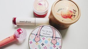 [some of my] Most liked items from my collection of Korean brand makeup . . . skinfood peach sake silky finish powder - smells good and keeps my sebum at bay  Innisfree lip tint - lasts super long even after eating  Etude House snowy dessert pudding tint - multipurpose but works well as blusher  TheFaceShop oil control water cushion - I use this in SG's hottest days and it really controls oil that you don't need to retouch for up to 4 hours. #clozette