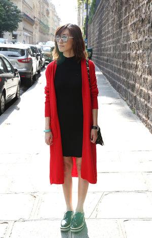 Blogged - RED ALERT // Cardigan & Dress - Mood & Closet // Platform - Prada // Bag - Dior // Sunglasses - Dior //
