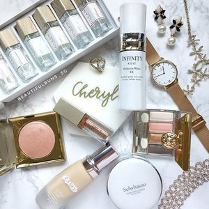 Whites and golds are such a classy combination~ I'm super looking forward to @stilacosmetics ' new Magnificent Metals Glitter and Glow Liquid Eyeshadow that's super pigmented and sparkly! The range of travel-sized fragrances from Clean are also perfect for vacations, available from @sephorasg 🤗  #sephora #sephorasg #fragrance #perfume #kose #koseinfinity #kosesg #stila #millebeaute #lamer #sulwhasoo #bbcushion #kaptenandson #beauty #beautyblog #beautyblogger #clozette  #beautyaddict #bblogger #instabeauty  #makeup #makeupjunkie #makeupaddict #makeupstash  #beautyjunkie #trendmood  #makeuphoarder #instabeauty
