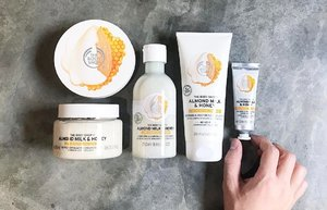 🦁🦁🦁 Hey honey, got (nut) milk? Better if it's along the line of one almond milk! . Allow me to introduce the NEWEST 【The Body Shop Almond Milk & Honey】line to their body care collection! Specially created with the sensitive and/or dry skin users in mind, these dermatologically tested products are fortified with organic almond milk from Spain and Ethiopia honey. Expect powerful soothing, nourishing and protecting effect right from the first use. No colorants, mineral oil and petrolatum, only light and quick absorbing texture with an additive hypoallergenic scent! . New Almond Milk & Honey collection includes: • Soothing & Restoring Body Butter; $30.90/200ml • Gently Exfoliating Cream Body Scrub; $30.90/250ml • Soothing & Caring Shower Cream; $12.90/250ml • Soothing & Restoring Body Lotion; $19.90/200ml • Calming & Protecting Hand Cream; $9.90/30ml . Available at all The Body Shop stores now. Go slather some vanishes-like-water body lotion and be amazed!