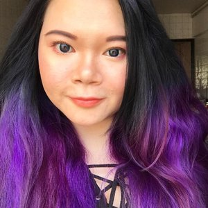 Showcasing my new hair colour done by @eleinchong from @artistryhairsg !!! Loving the 50shades of purple in my hair! It's a dark blue ombré with purple ends by the way. Exactly the same colours I did previously but I bleached it this time round! #motd using #toofacedsweetpeach palette today on the eyes, #ysltintinbalm on the lips, #nars on the cheeks and highlight. I'm loving Unfiltered I! Check out my review on the blog! #selfie #selca #nofilter #nofilterneeded #selfiequeen #lotd #fotd #makeupoftheday #makeuplove #muablogger #narsunfiltered #clozette #beauty #beautyblogger #makeupaddict #makeup #sgigbeauty