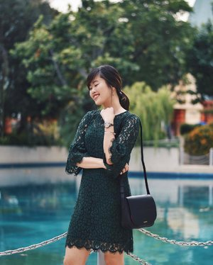 Still looking for something to wear for CNY? Why not go for a classic piece like the Pandora Lace Flute Dress from @ohvola, now available at www.ohvola.com in green, blush pink and navy! ✨ #ohvolaootd #ohvola #clozette #ootd (📸: @ritzyritzrit)