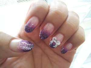 My favourite nail colour purple + ribbon