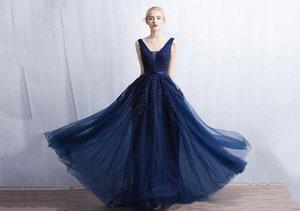 A-line Sweep Train V-neck and V-back Beaded Appliqued Tulle Prom Dress