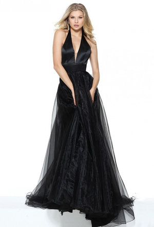 Deep V-neck Open Back Soft Chiffon Skirt Prom Pageant Dress with High Jeweled Collar