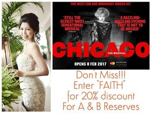 "I am sharing this great musical ""Chicago"" in Marina Bay Sands to chase away your Monday Blues!  As a Base Entertainment Ambassador, I am glad to share this wildest promotion of 20% off Res A & B tickets just by keying in promo code ""FAITH"" !  MBS Ticketing: http://entertainment.marinabaysands.com/events/chicago0217  SHOW DETAILS  8 Feb – 26 Feb 2016  STANDARD TICKET PRICES  VIP: $175 A Res: $145 B Res: $115 C Res: $95 D Res: $65  SYNOPSIS ""Murder, greed, corruption, exploitation, adultery and treachery... all those things we hold near and dear to our hearts""... so begins the international award winning musical, CHICAGO.  Based on real life events back in the roaring 1920s, nightclub singer Roxie Hart shoots her lover and along with cell block rival, double-murderess Velma Kelly, they fight to keep from death row with the help of smooth talking lawyer, Billy Flynn.  More details: http://msbabelovebebes.blogspot.sg/2016/11/chicago-base-entertainment-ambassador.html  I will be there too, so catch me if you can!  #ambassador, #baseentertainment, #baseentertainmentambassador, #broadway, #chicagomusical #marinabaysands  #mbs  #musical #influencer #lifestyleblogger #luxury #msbabelovebebes #clozette #starclozetter #imagecoach #ministryofimageconsultancy #FBSambassador2016 #facebodyskin"