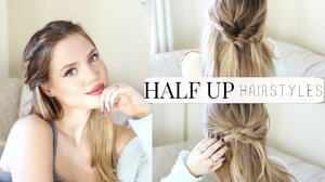 EASY & HEATLESS HALF UP HAIRSTYLES - YouTube