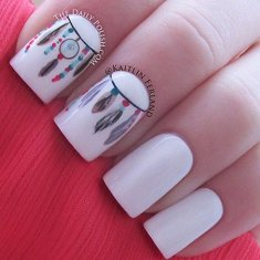 love the feather and hippie nails inspiration
