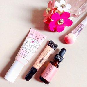 My personal favorites in July:Too faced hangover primer,LA Girl Pro ConcealJosie Maran Argan Oil