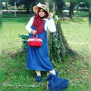 #heztyharajuku #denim #romantic #gyaru in #modestfashion#coveredstyle way with #headscarf for @duahijabtrans7 #HOOTD #DuaHijabTrans7 #DuaHijabDenimLook. 👖👗👛 #overall #denimshoes #picnicbasket #flowerhat #whiteshirt #garden #stylishtraveler #stylish #modesty #hijabiandfab #ClozetteID #fashion #style #instafashion #fashiongram #fashiongrammer