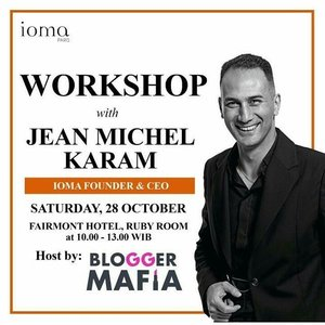 "Join workshop with @jean_michel_karam from Paris – The IOMA Founder & CEO, and Creator of Sphere2 skincheck machine.  With the excitement of IOMA New launch product that can "" Recharge Your Skin In A Flash At Night ""  Be the first to own it…  Join this workshop : * Get your Personalized Decoupage Clutch class. * Interesting promotion & Reward for Top Spender . * Lunch & coffee break provided  Saturday 28 October 2017, 10:00-13:00 Fairmont Hotel, Ruby Room  For RSVP, please contact: Atun 081293709399 (WA) . Ticket workshop Rp. 500.000 dapat ditukar dengan produk IOMA termasuk lunch, voucher & samples. We hope to see you there 💋💋 . . #ioma #iomaindonesia #bloggermafia #workshop #beautyjunkies #indobeauty #beautyworkshop #beautyclass #skincareworkshop #indobeauty #mua #skincare #blogger #l4l #beautyjunkies #beautyevent #beautyinfluencer #blogger #bloggerindo"