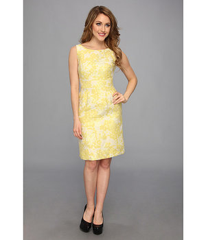 Tahari by ASL Winnie K Metallic Jacquard Dress Yellow/Beige/Gold - 6pm.com
