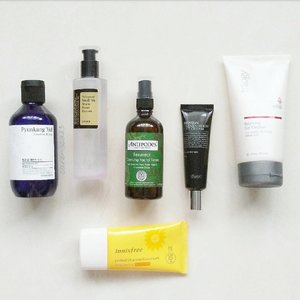 Current A.M. skincare routine 🌞My morning routine hadn't really changed that much, although I did introduce some new products into the routine. Tried to keep it simple for morning time, since what matters to me is really just enough sun protection and of course hydration 😉.#Trilogy Balancing Gel Cleanser#PyunkangYul Essence Toner#Antipodes Resurrect Clarifying Facial Toner#COSRX Snail Power Essence #Benton Fermentation Eye Cream#Innisfree Perfect UV Protection Cream