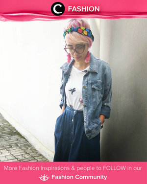 Chic style with oversized denim jacket, shirt, and button skirt. Don't forget to added a  dot twilly, too.Simak Fashion Update ala clozetters lainnya hari ini di Fashion Community. Image shared by Star Clozetter @titaztazty. Yuk, share outfit favorit kamu bersama Clozette.