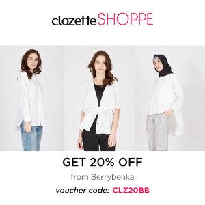 Clozetters, saatnya mengupgrade koleksi fashion dan aksesorismu. Berrybenka DISKON 20% ALL ITEM khusus Clozetters via #ClozetteSHOPPE! Klik di sini untuk belanja dan dapatkan kode vouchernya: http://bit.ly/BBClzt30