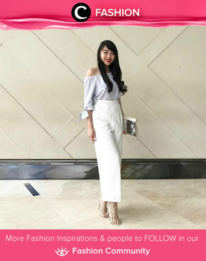 Baby blue off-houlder, high waist culottes, and lace up heels. Simak Fashion Update ala clozetters lainnya hari ini di Fashion Community. Image shared by Clozette Ambassador: @theresiajuanita. Yuk, share outfit favorit kamu bersama Clozette.