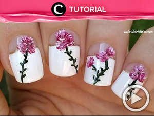 Elegant floral nail art tutorial http://bit.ly/2uffbIF. Video ini di-share kembali oleh Clozetter: @kyriaa. Cek Tutorial Updates lainnya pada Tutorial Section.