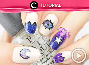 Eye, moon, and star nails. Cek tutorialnya, di sini http://bit.ly/2wUY549. Video ini di-share kembali oleh Clozetter: @salsawibowo. Cek Tutorial Updates lainnya pada Tutorial Section.