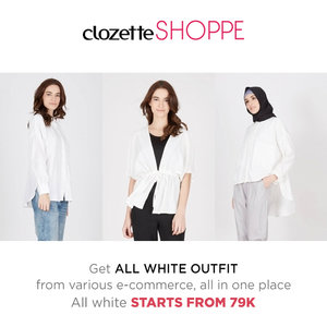 Lengkapi gaya chic dan stylishmu dengan outfit serba putih. Belanja outfit serba putih dari berbagai ecommerce site dengan harga MULAI DARI 79K di #ClozetteSHOPPE! http://www.clozetteshoppe.co.id/styles/all-white?utm_source=cid&utm_medium=clozettecrew&utm_campaign=up_cid_shoppe_white