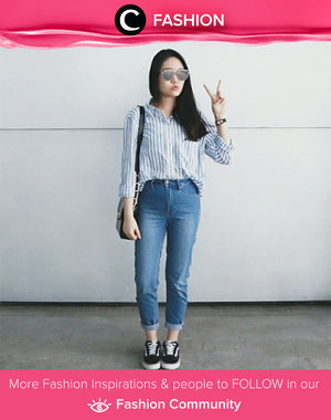 Stripes shirt, denim, and vans. Casual outfit will never hurts you. Simak Fashion Update ala clozetters lainnya hari ini di Fashion Community. Image shared by Clozetter: @booitsmichelle. Yuk, share outfit favorit kamu bersama Clozette.
