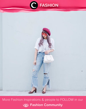 Nothing beats a casual weekend look. White t-shirt, ripped and fringe denim, baret hat, and sling bag. Simak Fashion Update ala clozetters lainnya hari ini di Fashion Community. Image shared by Clozetter: @yunitaelisabeth91. Yuk, share outfit favorit kamu bersama Clozette.