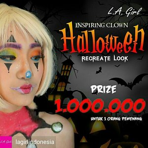 It's time for Halloween Makeup Giveaway !!! Recreate this makeup look (swipe for details) Win product worth 1mio for 1 winners  Caranya: 💓Recreate makeup look in this photo 💓Follow @reginayoshida_ & @lagirlindonesia 💓 Subscribe youtube channel aku Regina Yoshida ( link ada di bio aku) 💓Post di Instagram & sebutin di caption produk LA Girl apa aja yang kamu pakai 💓Pakai hashtag #ClownMakeupbyreginayoshida #LAGirlID  Contest will end on 5 November 2017 at 23.59. Make sure your account is public before the contest ends.  Pemenang akan dipilih oleh aku sendirii yaa dan diumumkan pada 6 November 2017  So good luck guys gengg ! 💋 . . . #ClownMakeupbyreginayoshida #LAGirlID #lagirlbeautyinfluencer #giveaway #giveawayjakarta #ga #giveawaymakeup #recreate #makeupwithregina #makeuplook #lykeambassador #beautynesiamember #clozetteid #mua #mue #beautyenthusiast #indobeauty #indobeautyinfluencer #indobeautygram @indobeautygram #tagsforlikes #makeup #makeupbyme #lagirlcosmetics
