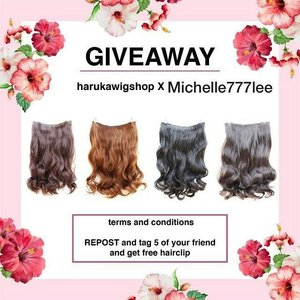 ❤ GIVEAWAY ALERT ❤ . Hi gengs, another giveaway from me collaborating with @harukawigshop & 3 of you can win these pretty hairclips 💕 . RULES: 1. Must follow me (@michelle777lee) & @harukawigshop 2. Repost this photo & tag 5 of your friends. 3. Make sure your profile is not private. 4. Don't forget to use this hashtag #HarukaWigShopXMichelle777Lee so I can track your submission. 5. Those who unfollow us after the giveaway finished will be blocked from future Giveaway. . Periode: 19 - 30 Mei 2018 The winner will be picked randomly. Good luck! ❤❤❤ . . . . . . . #ivgbeauty #indobeautygram #makeuptutorial #makeupreview #makeup #wakeupandmakeup #hudabeauty #featuremuas #undiscovered_muas #indobeautyblogger #indobeautyvlogger #beautyvlogger #beautyinfluencer #beautybloggerindonesia @tampilcantik #tampilcantik #ClozetteID  #ibv #tutorialmakeup #charis #charisceleb