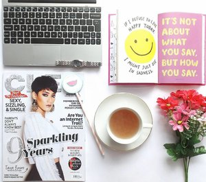 """What God knows about me is more important than what others think about me. Drink tea, read book & magazine. It make to be happier today ☺"" #cleomylifemyway #88lovelife #flatlay #clozetteid"