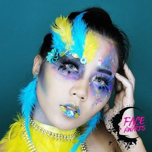 "Hey guys this is the Humming Bird, my second submission for NYX FACE AWARDS INDONESIA 2017  Click the link on my bio for the tutorial  NYX @nyxcosmetics_indonesia @nyxcosmetics products used : 💖 Auto Eye Brow Pencil ""Black"" 💖 Powder Foundation ""Golden"" 💖 Jumbo Eye Pencil ""Milk"" 💖 Glide on Pencil ""Glitzy Gold"" and ""Sunrise Blue"" . . 👀upper lash @thewlashesofficial ""Witness"" 👀lower lash @lashesbyjanuary_ ""Gwenn"" (i cut it)  #nyxfaceawards #faceawards #nyxfaceawardsindonesia #faceawards2017 #nyxfaceawards2017 #faceawardsindonesia #nyxcosmetics #nyxcosmeticsid #cabaret #IVGbeauty #indobeautygram #beautynesiamember #clozette #clozetteid #beautyjunkie #beautyjunkies #instamakeupartist #makeupporn #makeuppower #beautyaddict #motd #eotd #makeuptutorial #beautyenthusiast  #makeupjunkie #makeupjunkies #beautyvlogger #wakeupandmakeup #hudabeauty #undiscovered_muas"