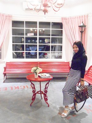 ootd pose. #ootd #hijab #fashion #stripe #skirt #adorableproject #platform