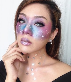 """Galaxy Makeup Look""  Products used: . . 💙 LA Girl Pro coverage HD long wear illuminating foundation (GLM 644 - Natural) mix with LA Girl Pro coverage HD long wear illuminating foundation (GLM 641 - White) . 💖M.A.C Eyebrows Crayon (spiked) . 💜NYX eyeshadow base (ESB01 - white) . 💙Sephora Beauty Amplifier smoothing & brightening powder . 💖L.A. Girl Beauty Brick eyeshadow Neon . 💜Etude House (#4 White Pearl Tear) glitter . 💙Mehron Fantasy Fx Makeup water base (white) . . . #igers#instalike#instapic#instagood#instagram#style#photooftheday#picoftheday#beautiful#beauty#beautyblogger#bestoftheday#makeupinspiration  #indobeautygram  #beautybloggerid  #makeupindo  #clozetteid #beautynesiamember #undiscovered_muas #makeupfanatic #makeupartistworldwide"