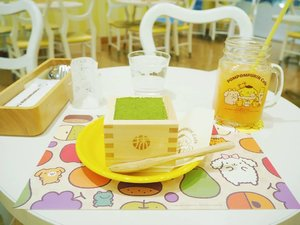"""Purin purin purin purin purin puririn.."" selama stay di cafe ini theme song puririn diputar on repeat..Yes, I  had a fun moment during my visit to Pompompurin cafe, didn't plan to visit at first,  I was going round and about Harajuku, it was so cold and I got seperated from my company. So I decided in a whim to do a nearby-cafe-hopping to kill time while waiting for my friends. this is one of them. Glad to visit it,  such a feast for the eyes with it's cute interior..So I tried this current so called trending dessert,  Uji maccha tiramisu. It satisfied my matcha craving for sure..#clozetteid #mellatravelogue"