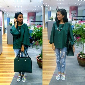 Style Me Green: Mom's Top by WarnaRipped jeans i-dont-rememberShoes by DividedBag by @hm#clozetteID #COTW #stylemegreen