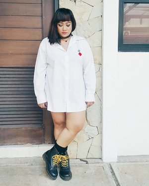 I never feel good like today.... I feel so blessed. No matter what.  #instastyle #ootd #ootdid #bigisbeautiful #like4like #drmartens #docmart #clozetteid #whiteshirt