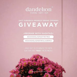 It's @dandelionwaxingid at @intro_id Grand Opening GIVEAWAAAAYYYY! Getting nails, lashes and waxing done is now closer and easier than you think!.Join me in this GIVEAWAY and get a chance to WIN IDR 500,000 FREE TREATMENT!Just repost this with #DandelionAtIntro #DandelionxWulanWu, tag @dandelionwaxingid@intro_id, and also tag 3 of your friends!.T&C:• Account must follow @dandelionwaxingid @intro_id• Account must not be private• Multiple entries allowed• Last repost by May 30th 2018 at 24:00.Winners will be announced on May 31st 2018, good luck!! 😉#surabayagiveaway #giveawaysurabaya #nailartsurabaya #clozetteid