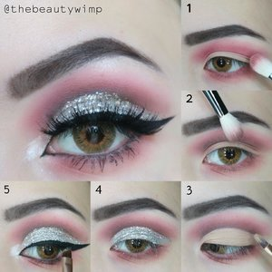 Hi, it's been quite some time since the last  step  by step tut 🖐Glitter Cut Crease 🙅🙅.Deets@anastasiabeverlyhills modern renaisance @eyekandycosmetics glitter in confetti@getthelookid loreal infalliable gel liner@beautycreations.cosmetics glitter primer (can be bought at @ivabeaute.id ).1 = Apply Love Letter for transition shade2 = Apply Cyprus Amber with light hand on the crease3 = Fill in the entire lid with concealer4 =  Put on glitter primer on top of the concealer carefully, then apply the glitter5 = Put on your winged liner