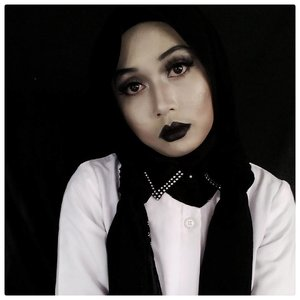 I'm not in bad mood. This is just how I look.  Full story on http://www.jurnalsaya.com/2017/10/wednesday-addams-inspired-make-up.html ... #WednesdayAddams #BeautiesquadOctCollab #BeautiesquadSpookyFace #Halloween #HalloweenMakeupLook #Beautiesquad #clozetteid #halloweenhijab #IndonesianHijabBlogger #beautyblogger #blackandwhitephotography  #homicide #blacklips