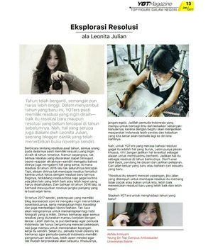 Buka tahun dengan liputan baru, resolusi baru~😉 Interviewed about 2017 resolution by Young On Top (YOT) magazine Lengkapnya download di~> http://bit.ly/2iEV8kG #YOTMagazine #2017resolution #resolution #youth #young #dream #magazine #youngontop #media #interview #mediacoverage #writer #photographer #novelist #businesswoman #travel #figure #clozetteID #clozetteambassador