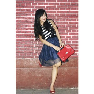 Play with my red and blue ~ #ootd #ootdmagazine #stripes #tulle #skirt #tutuskirt #redbag #red #redshoes #redbrick #fashion #fashionista #fashionid #aboutalook #instastyle #clozetteID #ClozetteAmbassador @clozetteid
