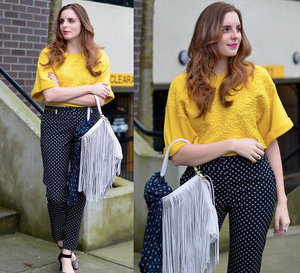 H&M Shift Top|Polka Dot Pants|Fringe Purse|#CIDPrintedPants
