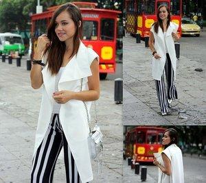 Choies Vests |Striped Pants |Rebecca Minkoff Bags |Heels|Swarovski Bracelets#CIDPrintedPants|
