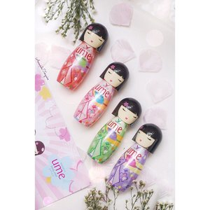 "Full series of @shinzuiume_id Body Mist💐 (From left to right)💐 • Iseiya (Red) • Ayumi (Pink) • Hatsune (Green) • Keiko (Purple) I know the packaging's uber cute, it's inspirate from Japan doll named ""Kokeshi"". 🇯🇵 Can't resist to collecting all of it~ #shinzuibodymist #CompleteYourDay #flatlaychallenge #umebodymist #clozetteid #cotd #lykeambassador #beautynesiamember"