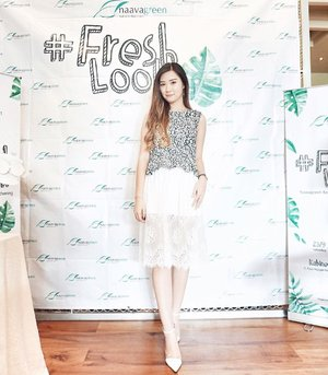 Sorry for make u wait!!! Here My #freshlook for @naavagreen Beauty Blogger Gathering 🍃 In white with touch of green~ Top @zara And lace skirt. Event report already airing on my blog, read it by clicking link on my bio 💋 Thank you for having me!! Credits 📷 @chelsheaflo  #clozetteid #cotd #beautynesiamember #lykeambassador