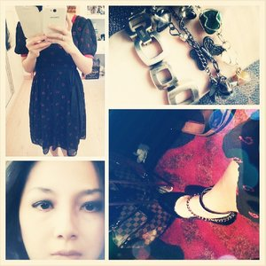 Late post #to #todaysoutfit #outfit #sundaysoutfit #fotd #me #selfpicture #myself #selfie #vintage #armcandy #pump #blackpump #vintagedress