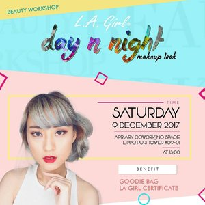 "Beauty Workshop ""Day & Night Makeup Look"" with @lagirlindonesia . 💋Beauty Workshop with me as LA Girl Beauty Influencer 💋 Saturday, 9 Desember 2017 jam 13.00-15.30 💋At Apiary Coworking Space, Lippo Puri Tower #09-01 , Puri Kembangan , Jakarta Barat . HTM 250K.  Benefit : L.A. Girl Indonesia Certificate & Goodie Bag . . . . RSVP & Info Josephine 081283120053 / Anah 089659660089  Don't miss it! LIMITED SEAT AVAILABLE !!!"