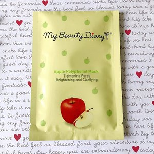 "🍎 7 days of #sheetmasks ~ Day 5 🍎 . >> My Beauty Diary Apple Polyphenol Mask << . On the package it says ""Tightening pores, brightening, and clarifying."" I can't say that it's brightening enough but it sure does clarifies skin. And I think I did noticed a slight shrinking on my pores, or I might just be imagining things 😛 Overall this is a nice comfy mask to put on without that tingling sensation. Medium amount of moisture and wetness, there are still some essences left inside the packaging too. Effectively hydrates the skin and making it looks plumped and clearer. . . . . #sheetmask #mybeautydiary #mybeautydiarymask #love #maskreview #koreanskincare #kbeauty #rasianskincare #skincaregram #bblogger #fdbeauty #skincarereview #clozetteid #beautybloggerindonesia"
