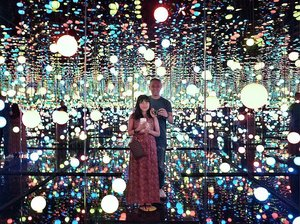 "Take me to wonderland! 🔮💙>> The Infinity Mirrored Room : ""Brilliance of the Soul"" by Yayoi Kusama..[ The world according to #YayoiKusama ]Her DOTTED {polkadots} art are based from hallucinations she experienced since a young girl. She channels her mental illness into creating art. Even Louis Vuitton created a collaboration with her for a special edition of bags collection (which honestly I'm not too fond of), but this infinity mirrored room is something else entirely! It's like a magical room filled with fairy lights and DOTS! 💙❤️........#infinitymirrors #infinitymirrorroom #infinitymirrorsexhibit #yayoikusamaexhibition #museummacan #justus #iglove #meandhim #makingmemories #igdaily #peopleinframe #postthepeople #clozette #clozetteid"
